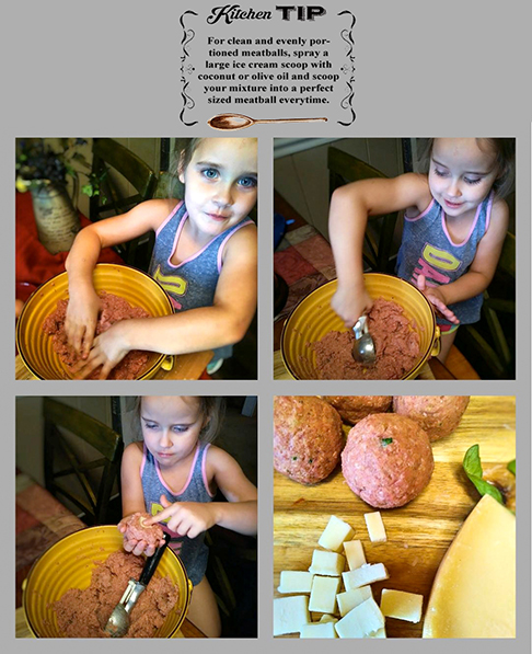 Meatball rolling collage with tip
