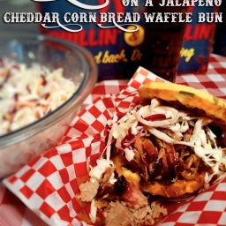 Barbecue Pork On A Jalapeno Cheddar Corn Bread Waffle Bun