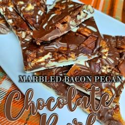 Marbled Bacon Pecan Chocolate Bark
